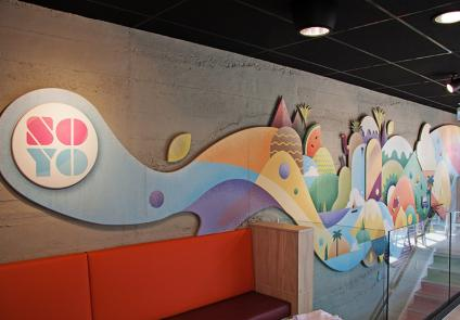 Plywood interior mural